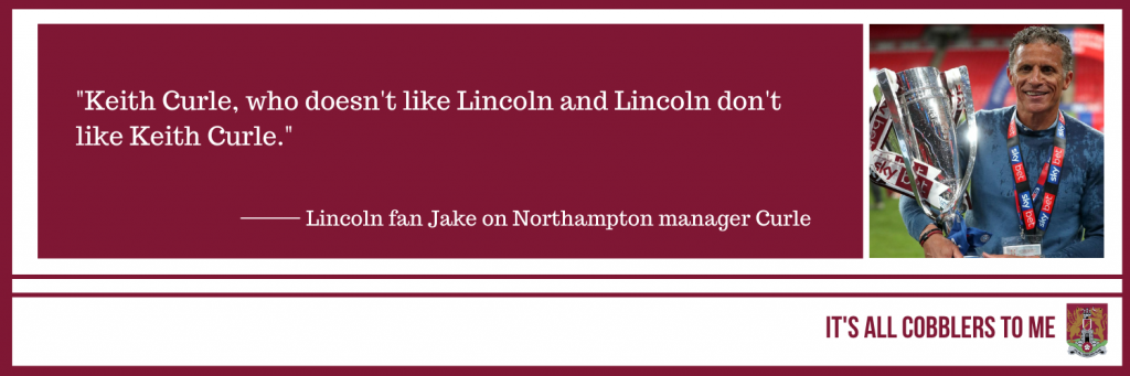 quote from the podcast to the left of a picture of Keith Curle holding the play off trophy