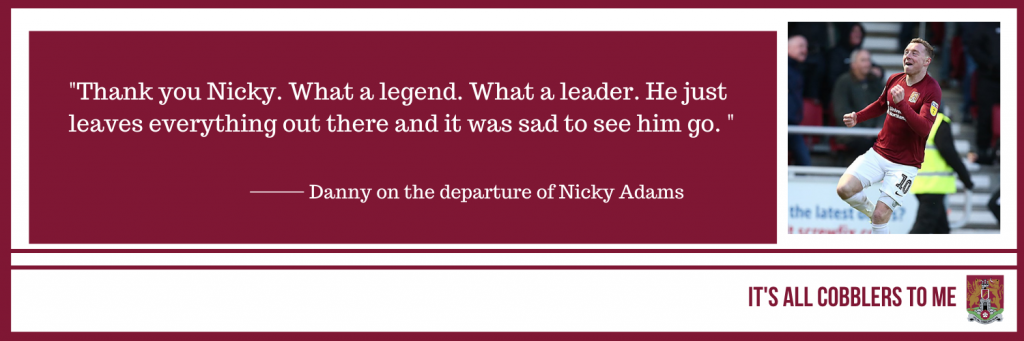 text to the left of a picture of Nicky Adams