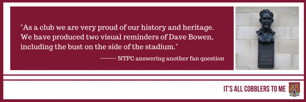text to the left of a picture of Dave Bowen's bust at Sixfields